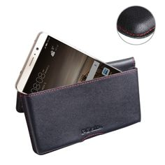 Leather Wallet Pouch for Huawei Mate 9 (Red Stitch)