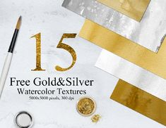 15 FREE GOLD & SILVER WATERCOLOR TEXTURES