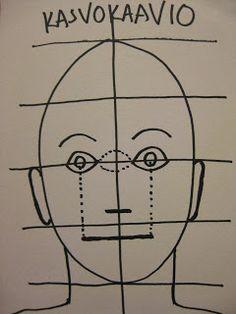 Kolmannella kuvistunnilla käsittelimme kasvojen mittasuhteita. Piirsimme kuvisvihkoon kasvokaavion, josta käy ilmi silmien, nenän, suun ja k...