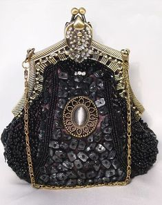 Victorian Style Fully Beaded Crystal Purse Evening Bag Available in Black and Brown