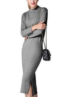 Cinza malha Midi Vestido Básicos