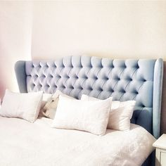 "Heatherly Design Bedheads on Instagram: ""We go above and beyond to bring clients the bedhead they've always dreamed of. @najehouse was after a very particular shade of blue, so we…"" Bed Head, Shades Of Blue, Love Seat, Couch, Furniture, Design, Home Decor, Settee, Sofa"