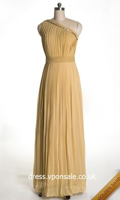 Long Pleated Chiffon Dress With One Shoulder VPW042