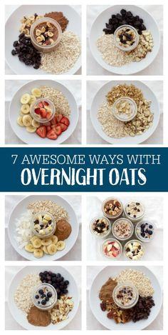 7 AWESOME Ways to Enjoy Overnight Oats. You'll want to jump on this tasty bandwagon! 7 AWESOME Ways to Enjoy Overnight Oats. You'll want to jump on this tasty bandwagon! Healthy Meal Prep, Healthy Snacks, Healthy Recipes, Yummy Snacks, Delicious Recipes, Healthy Breakfasts, Vegetarian Recipes, Healthy Eating, Healthy Meats
