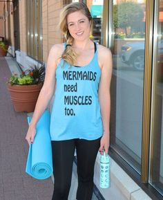 Mermaids need Muscles too! Mermaid top, Mom top, Mom tank, Workout tank, Yoga Tank, Yoga clothes, Mother's Day gift, Yoga, Tank Top, Summer by Little17Shop on Etsy https://www.etsy.com/listing/291543961/mermaids-need-muscles-too-mermaid-top