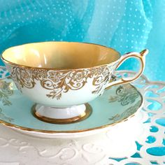 Antique 1930's Signed Tea Cup and Saucer by VintageTeacupShop