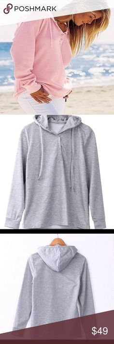 "🚩1-HOUR-SALE🚩🚩 Pink Ltweight Hoodie Pullover NEW ARRIVAL"" ❤LILY Pink Lightweight Pullover. Shown in Gray to show style. Trendy! Super trendy and cute for spring summer! This light comfy pullover hoodie half button drawstring is great for spring summer parties beach road trips shopping night out vacation traveling cruises after work attire hot ladies shirt formal evening cocktail fashion summer style resort  no trades and price firm Delilah Wear Collection Tops Sweatshirts & Hoodies"