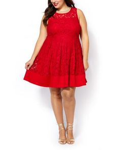 Shop online for Sleeveless Fit and Flare Lace Dress. Find Dresses, Clothing and more at Penningtons Trendy Plus Size Fashion, Stylish Plus, Plus Size Outfits, Trendy Outfits, Fashion Books, Fit And Flare, Size Blog, Lace Dress, Lace Overlay