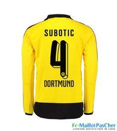 Nouveaux Maillots jaune Dortmund BVB Manche Longue SUBOTIC 4 Domicile 15 2016 2017