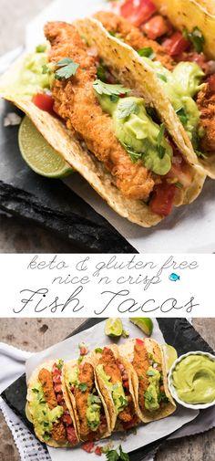 Gluten Free, Low Carb & Keto Fish Tacos 🐟 extra crisp! #keto #lowcarb #dairyfree #healthyrecipes #ketodinners #tacos #mexican