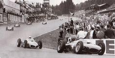 Spa Eau Rouge . .1961 Phil Hill, Oliver Gendebien Ferrari 156 . . . Look at the Car cpompression . .