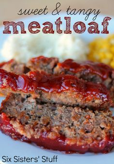 Sweet and Tangy Meatloaf from SixSistersStuff.com.  A new twist on our family's favorite meal! #recipes #beef #meatloaf