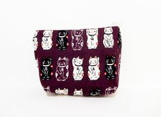 Medium Zipper Pouch, Lucky Cats Pouch, Purple Pouch, Cute Pouch, Fabric Pouch, Cosmetic Bag, Toiletry Bag, Coin Purse, Lucky Cats in Purple - pinned by pin4etsy.com