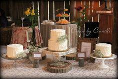 Vintage, rustic wedding cake dessert table