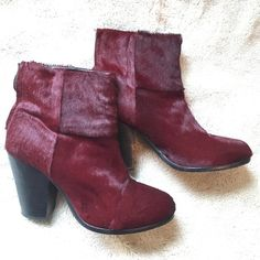 rag & bone Ponyhair Newbury Booties Worn but in good condition, awesome reddish purple color rag & bone Shoes Ankle Boots & Booties