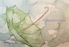 Green Umbrella in the Rain Watercolor Painting by RoseAnn Hayes, prints available in Etsy shop