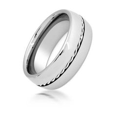 Bling Jewelry Tungsten Twisted Insert Wedding Ring 8mm (44 CAD) ❤ liked on Polyvore featuring jewelry, rings and grey