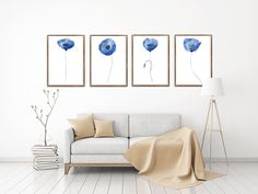 4 Pieces Paintings, Blue Navy Poppies Print, Floral Art Print, Poppy Poster, Abstract flowers, Poppy Flower, Giclee Art Print, Home Decor