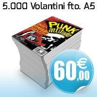 5.000 Volantini A5 4+4 carta patinata opaca 135 gr