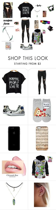 """""""soul eater oc"""" by jasmine12cummins ❤ liked on Polyvore featuring Converse, Forever 21, Razer and Toshiba"""