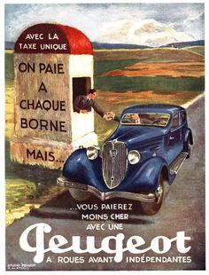 (no other information available) Poster, 1934 PEUGEOT 601 sedan. Retro Advertising, Vintage Advertisements, Vintage Ads, Classic Motors, Classic Cars, Poster Home, Models Men, Psa Peugeot Citroen, Ad Car