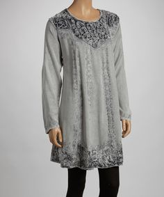 Gray Velvet Embroidered Tunic by The OM Company #zulily #zulilyfinds