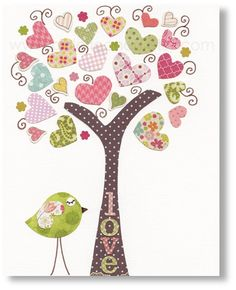 Nursery art prints, baby nursery decor, nursery art, Birds Tree Pink, Tree Of Love 8x10 print from Paris by GalerieAnais. $14.00, via Etsy. could totally DIY