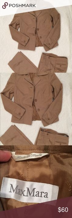 Max Mara Camel Women's Suit. Blazer is size 6 and pants are a size 4. In great condition. Max Mara Other