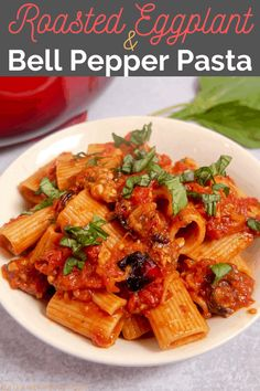 This roasted eggplant and red bell pepper pasta with a made from scratch tomato sauce is vegetarian comfort food at it's finest! #eggplant #bellpepper #roastedeggplant #vegetarian #pastarecipe #veegtarianpasta #eggplantpasta #roastedeggplant #roastedbellpeppers Creamy Pasta Recipes, Seafood Pasta Recipes, Pasta Dinner Recipes, Healthy Pasta Recipes, Healthy Pastas, Noodle Recipes, Dessert Recipes, Cooking Recipes, Roasted Eggplant Pasta