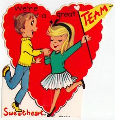 Vintage Greeting Card School Valentine Teenagers Team Boy Girl UNUSED L487
