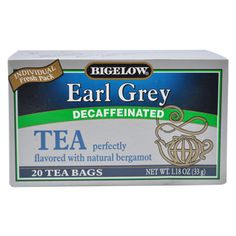 Good morning cup of tea. Bigelow's Earl Grey Decaf Tea box allow you to brew 20 single servings of bergamot-rich black tea Decaf Tea, Types Of Tea, Chamomile Tea, Earl Gray, Herbal Tea, Bergamot, Tea Time, Brewing, Herbalism