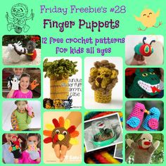 Friday Freebie's #28 - 12 free crochet patterns for amazing hand and finger puppets!