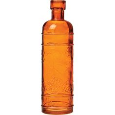 Small Vintage Bottle (6.5-Inch, Round Design, Orange Colored Glass) -... ($3.25) ❤ liked on Polyvore featuring home, home decor, fillers, colored glass bottles, vintage colored glass bottles, orange home accessories, vintage bottles and vintage home decor