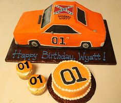 Dukes of Hazzard General Lee First Birthday Cake and Cupcakes