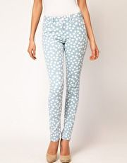 heart print skinny jeans- I <3 asos