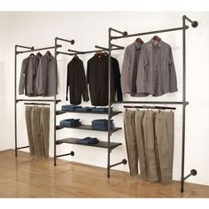 Pipeline Outrigger Wall Unit, Set of Anthracite Grey - Price is for a Set of two slotted posts. This retail outrigger is a part of Capitol Hardware - Pipe Closet, Closet Bedroom, Closet Wall, Closet Shelves, Diy Clothes Rack Pipe, Hanging Clothes Racks, Clothing Racks, Diy Pipe Shelves, Pipe Shelving