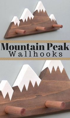 Rustic mountain peak wall hooks. Coat hooks | key hooks | bathroom towel hooks. (Affiliate link)