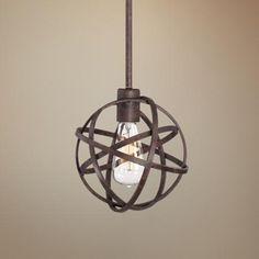 Industrial Atom 8 Wide Edison Bronze Mini Pendant Light