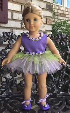 "American girl or 18"" doll purple, pink and green tutu dress and slippers"
