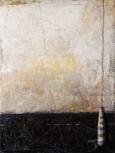 """""""Borderline"""" Encaustic painting on wood panel by Graceann Warn."""