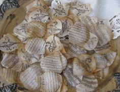 Wedding  Flower Petals  Tea Stained Hand Stamped  - words on flower petals!