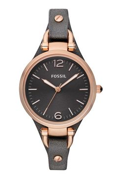 Fossil black leather strap watch