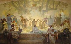 The Slav Epic #18: The Oath of Omlandina Under the Slavic Linden Tree by Alphonse Mucha