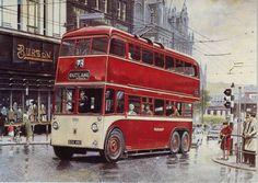 Robert Nixon, steam locomotive, railway, transport and portraite artist Huddersfield Road Transport, London Transport, Public Transport, Vintage Illustration Art, Illustrations, Bus Art, Yorkshire, First Bus, Classic Trucks