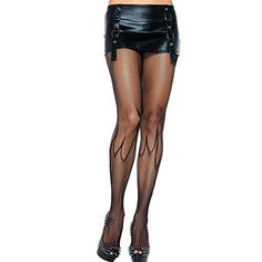 Women Sexy Black Fishnet Seduction Passion Flame Pattern Tights Stockings Hosiery Pantyhose One Size Black ** Details can be found by clicking on the image.