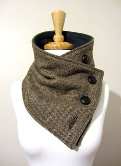 Scarf Mens and Womens Chocolate and Cream Herringbone Neck Warmer Sewing Clothes, Diy Clothing, Mens Traditional Wear, Scarf Knots, Apocalyptic Fashion, Cool Ties, Wool Fabric, Neck Warmer, Hats For Men