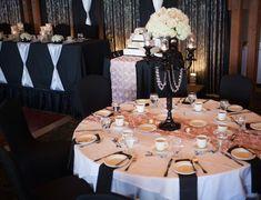 Wedding Reception Black Blush Bling Candelabra Roses Hydrangeas2