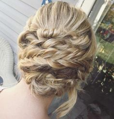 Blonde Updo With Twists And Braids