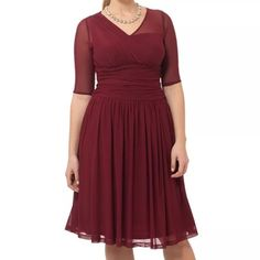 Kiyonna Wine Colored Dress Kiyonna Wine Colored Dress, gorgeous just didn't fit right, size 0x kiyonna = 10/12 can fit a 14. NWOT Kiyonna Dresses