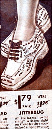 Jitterbug Swing Slang shoes 40s shoe ad wedge oxford dance shoes lace ups print illustration newspaper